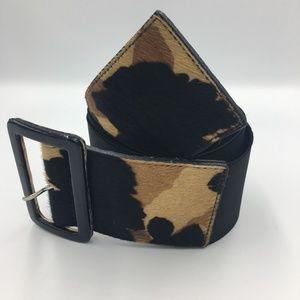 Leopard Calf Hair Black Stretch  Belt XL